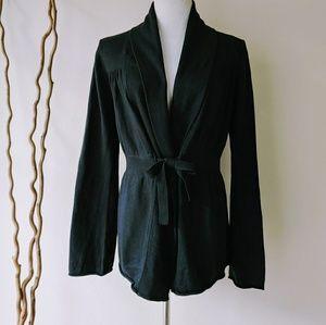 Athleta Tie Waist Black Cotton Cashmere Cardigan